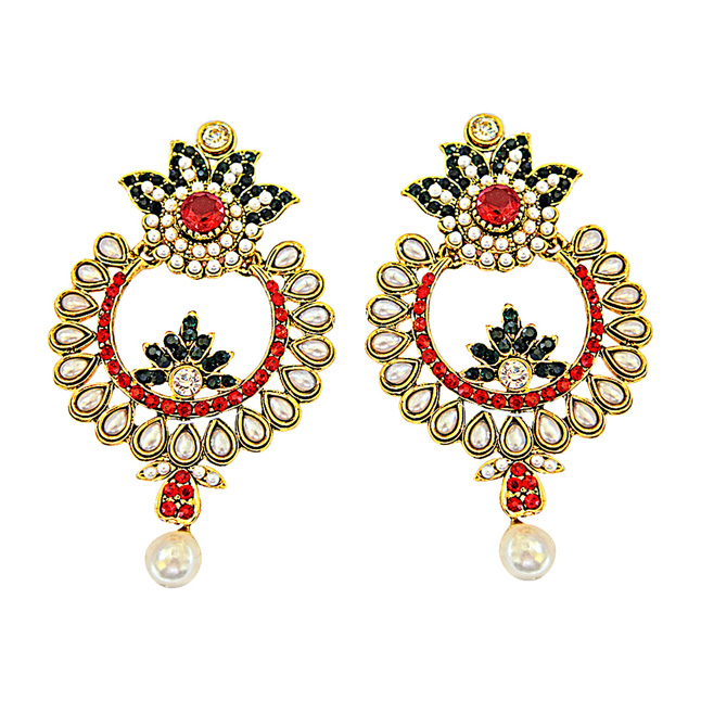 Multi-Colour gold-plated Dangle & Drop Earring