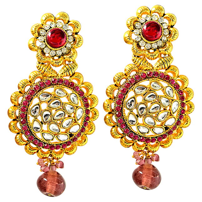 Beautiful Pink & White Coloured Stone & Gold Plated Round Shaped Chandbali Earrings