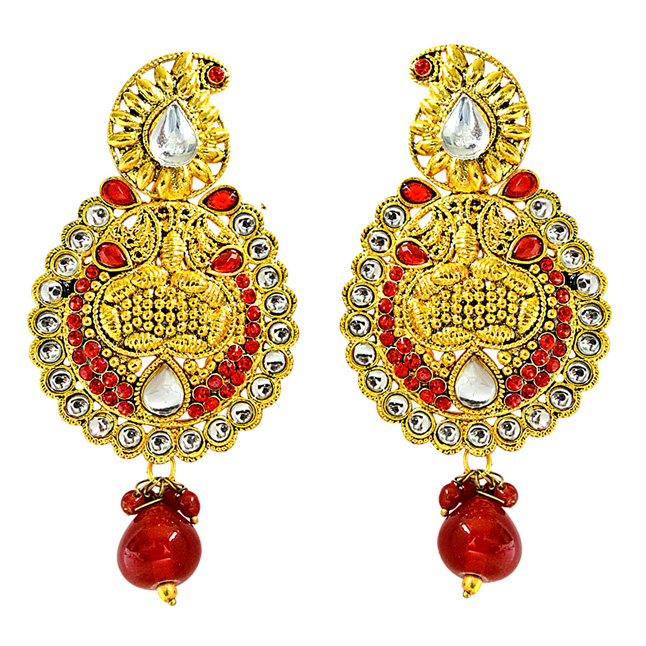 Ethnic Indian Motif, Red & White Coloured Stone & Gold Plated Chandbali Earrings