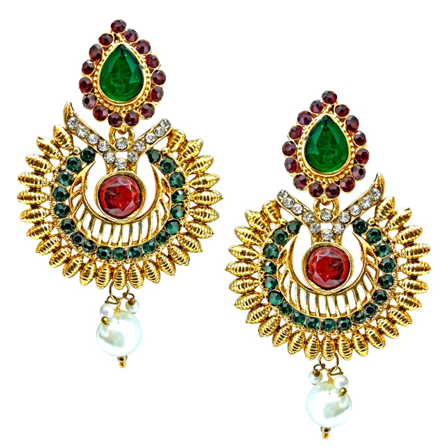 Ethnic Drop Shaped Red, Green & White Stone Gold Plated hanging Earrings for Women