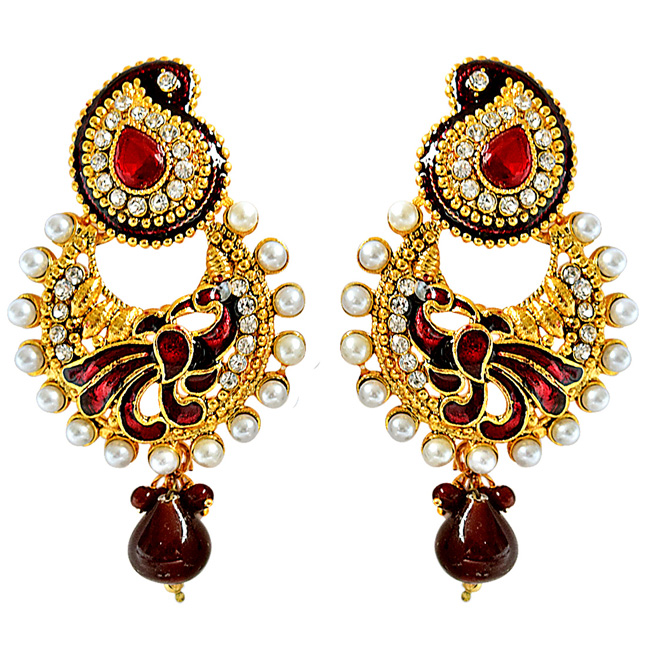 Ethnic Peacock Motif, Maroon Enamelled, Red & white Coloured Stone Chandbali Earrings