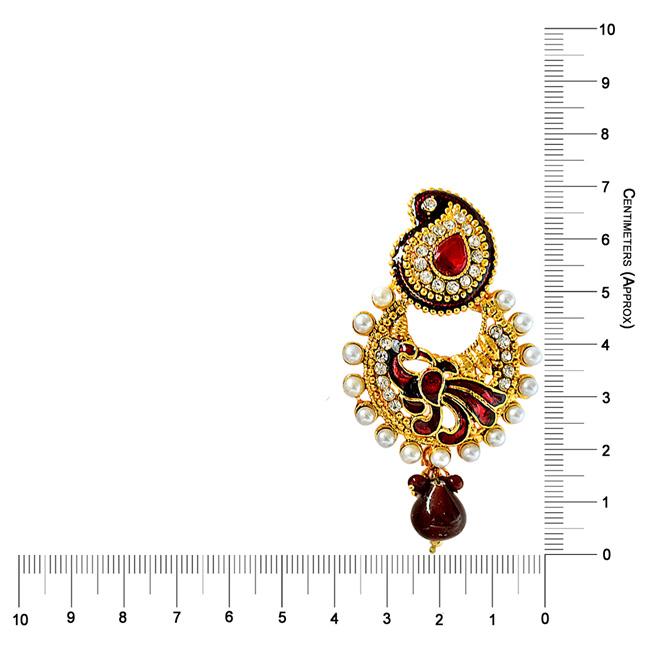 Ethnic Peacock Motif, Maroon Enamelled, Red & white Coloured Stone Chandbali Earrings