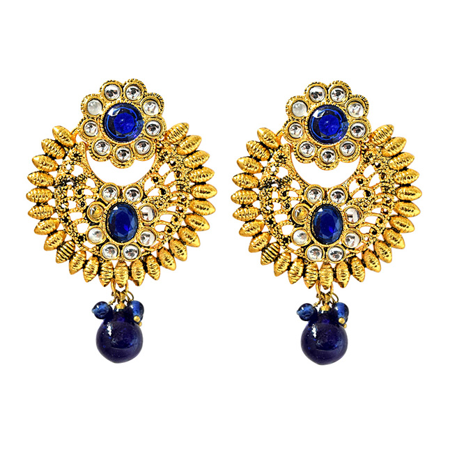 Trendy Blue & White Coloured Stone & Gold Plated Round Shaped Chandbali Earrings