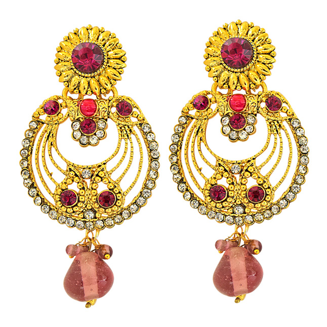Trendy Pink & White Coloured Stone & Gold Plated Floral Round Shaped Chandbali Earrings