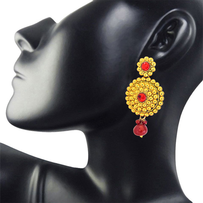 Traditional Rajasthani Style Red Coloured Stone & Gold Plated Round Shaped Chandbali Earrings