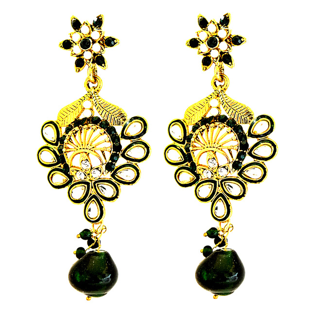 Traditional Floral Design Green & White Coloured Stome & Gold Plated Chandbali Earrings