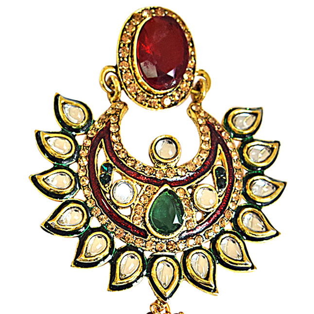 Traditional Polki, Red & Green Stone & Gold Plated Indian Motif Hanging Earrings