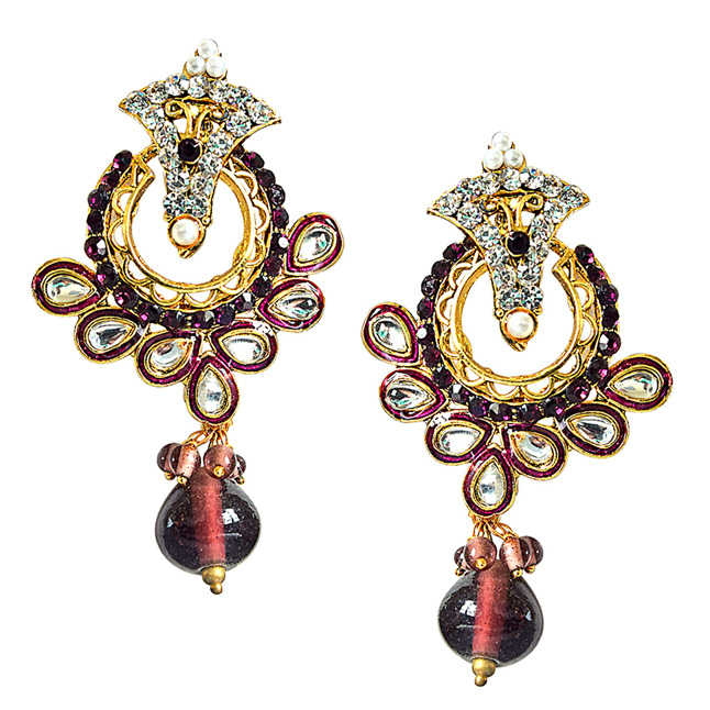 Trendy Purple & White Stones & Gold Plated Ch bali Earrings
