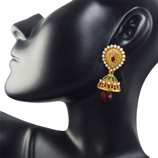 Traditional Red & Green Stone, Shell Pearl & Gold Plated Ch bali Enamelled Earrings