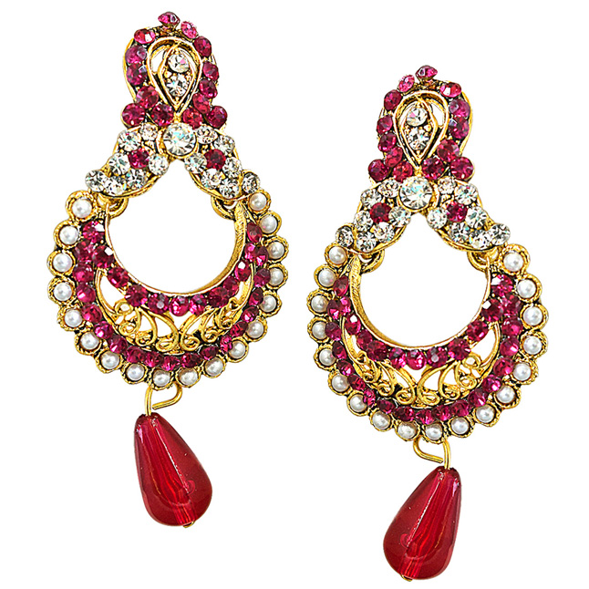 Traditional Pink & White Stone & Gold Plated Ch bali Earrings