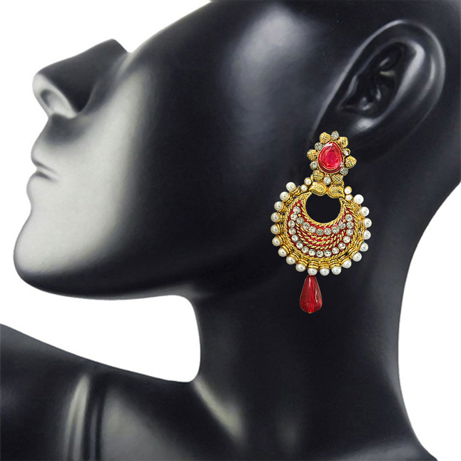 Traditional Pink & White Stone, Shell Pearl & Gold Plated Ch bali Enamelled Earrings