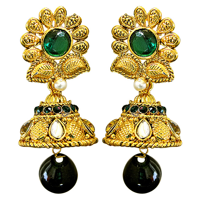 Traditional Floral Shaped Green & White Stone & Gold Plated Ch bali Earrings
