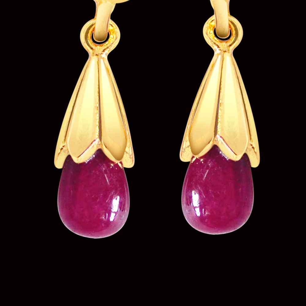 Ruby Lure - Real Drop Ruby & Gold Plated Silver Hanging Earrings for Women (RBER2)