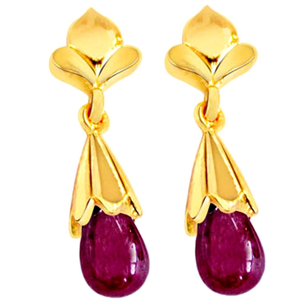 My Love Is True - Real Drop Ruby & Gold Plated Silver Hanging Earrings for Women (RBER3)