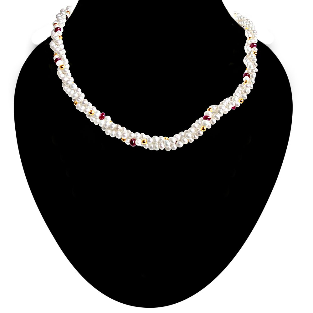 Single Line Real Ruby Beads & Freshwater Pearl Necklace for Women (RBN13)