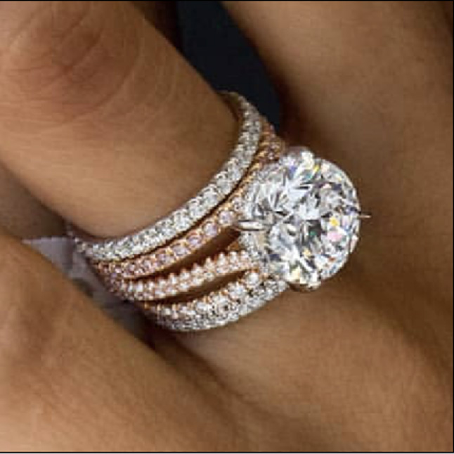 Rose Gold Diamond Ring with Side Diamond Band Part Pymnt2