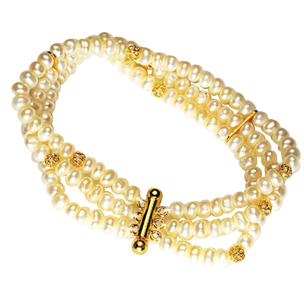 Love forever - 3 Line Real Freshwater Pearl & Gold Plated Beads Bracelet for Women (SB1)