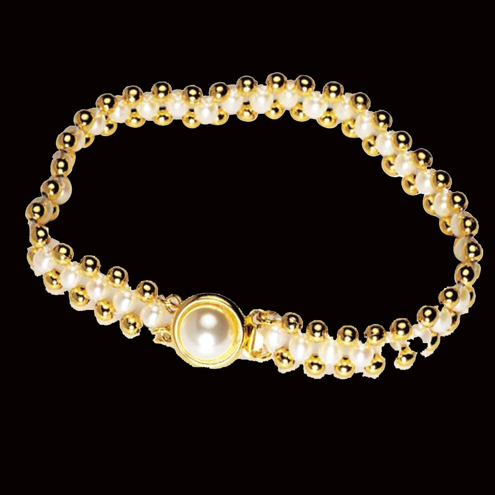 Dazzler - Real Rice Pearl & Gold Plated Beads Bracelet for Women (SB12)