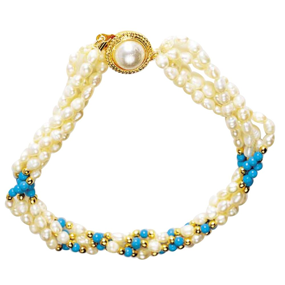 Brilliant - 3 Line Twisted Real Rice Pearl & Turquoise Beads Bracelet for Women (SB15)