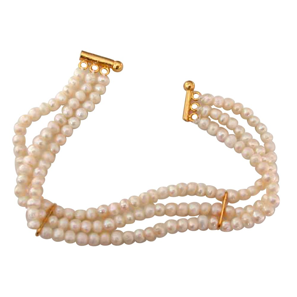 Special Gift - 3 Line Real Freshwater Pearl Bracelet for Women (SB16)