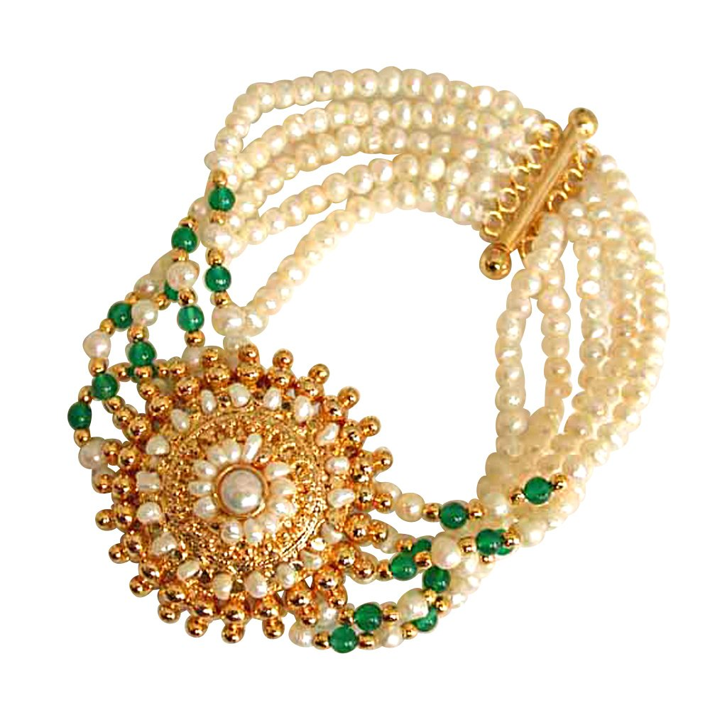 Angelic Beauty -  5 Line Freshwater Pearl, Green Onyx & Gold Plated Pendant Bracelet for Women (SB18)