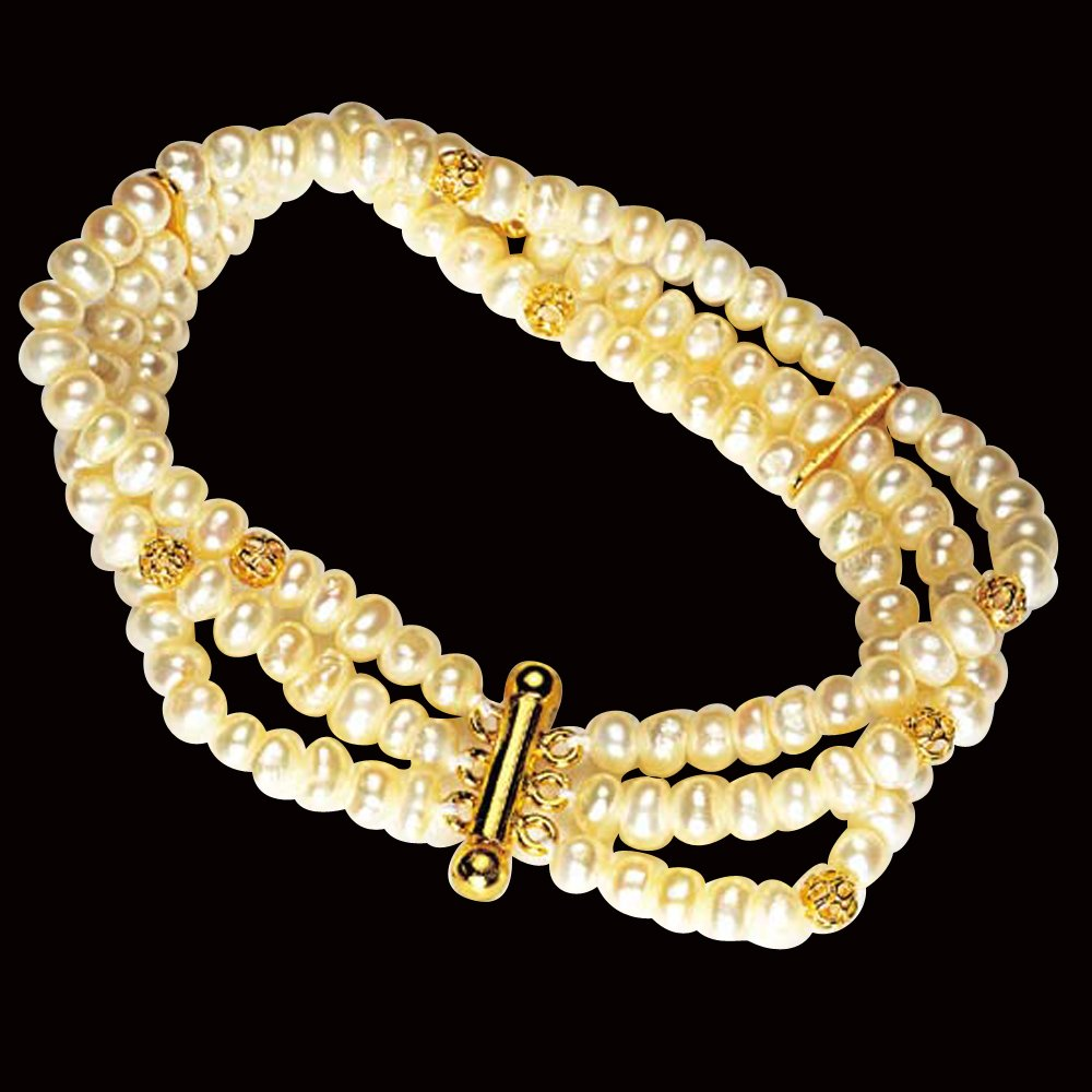 Love forever - 3 Line Real Freshwater Pearl & Gold Plated Beads Bracelet for Women (SB1)