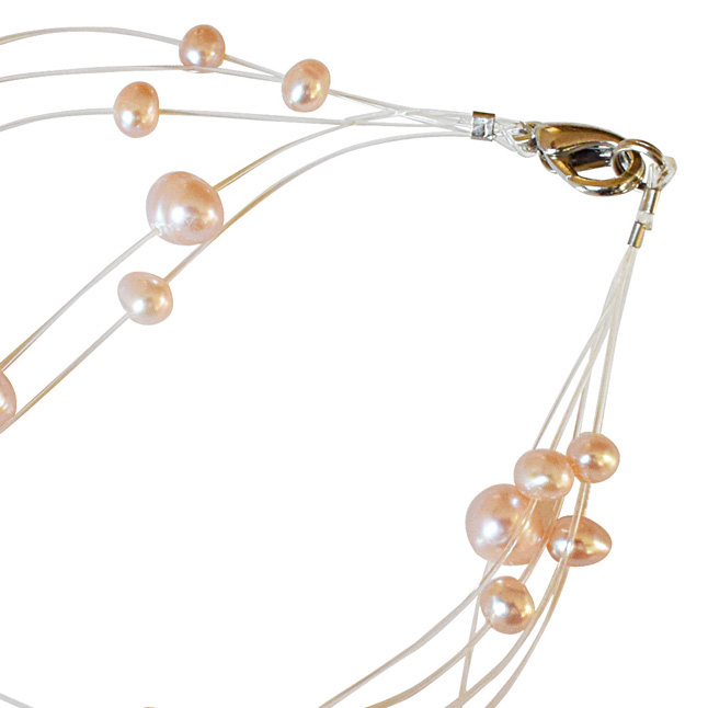 5 Line Real Round Peach Pearl Wire Style Bracelet (SB20)