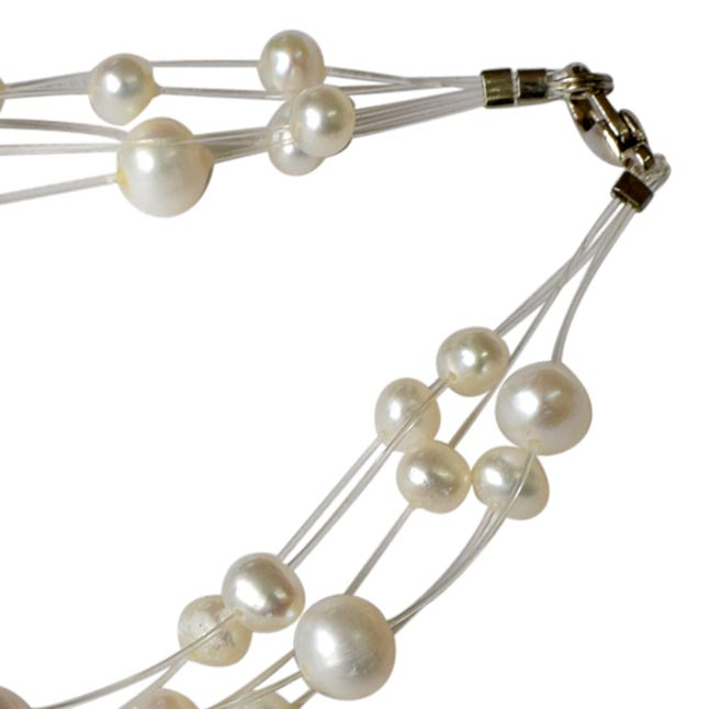 SB-22 5 Line Dazzling Real Pearl Bracelet - Pearl Bracelet