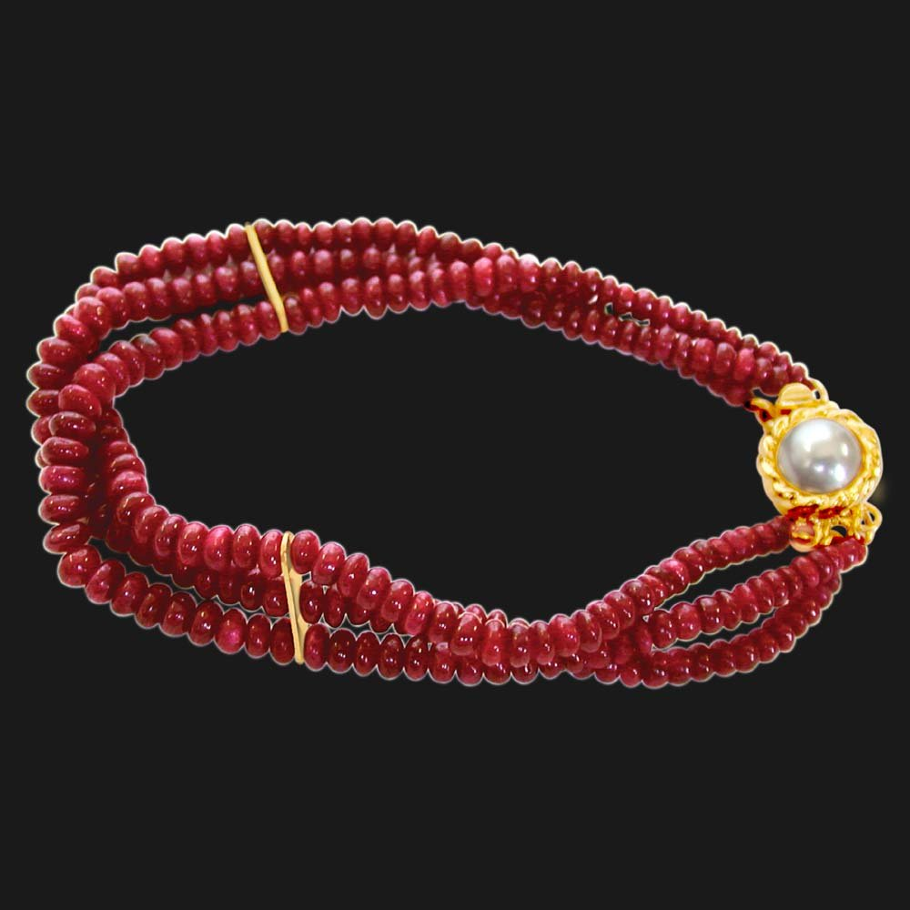 Ruby Drool - 3 Line Real Red Ruby Beads Bracelet for Women (SB25)