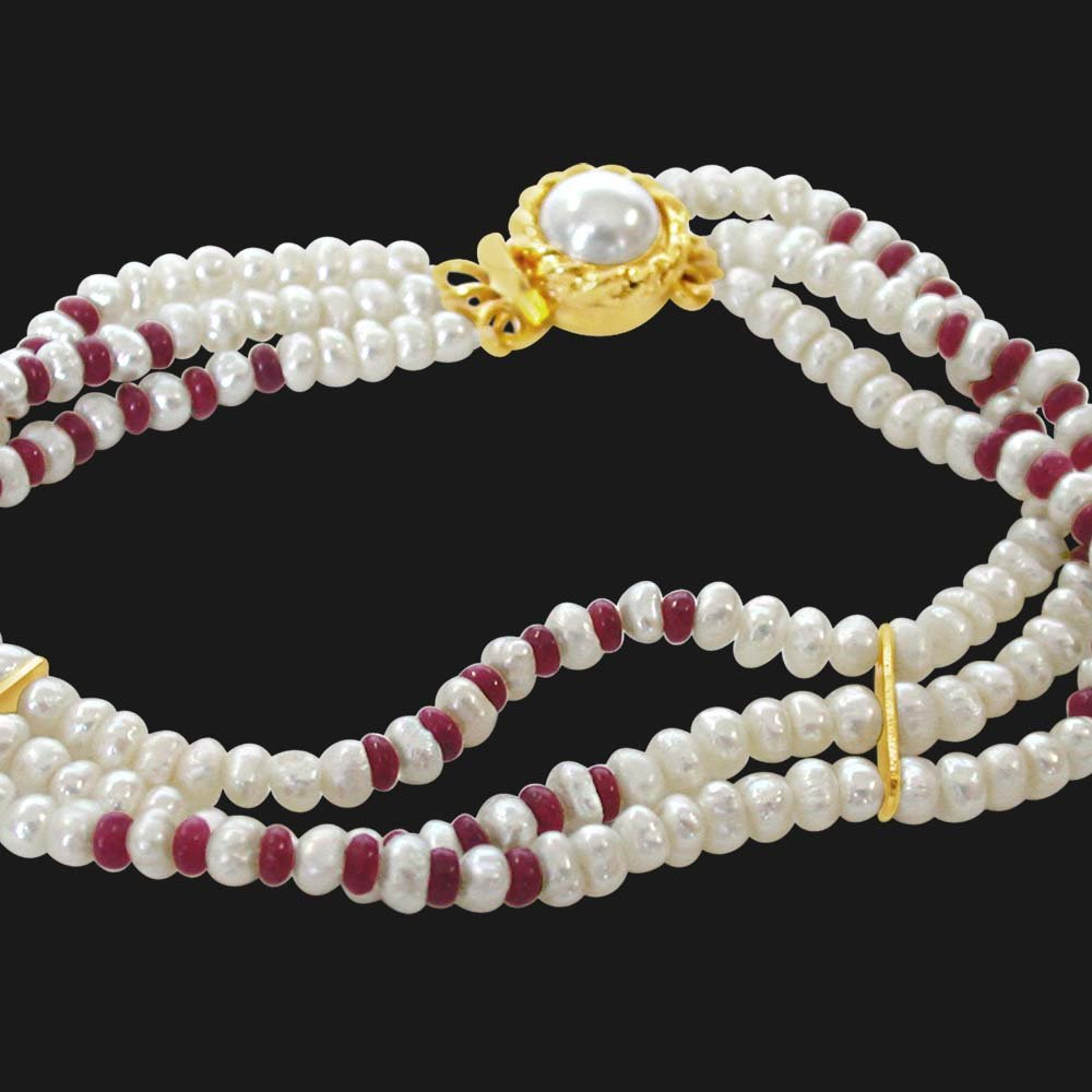 Pearl Ruby Creation - 3 Line Real Ruby Beads & Freshwater Pearl Bracelet for Women (SB26)
