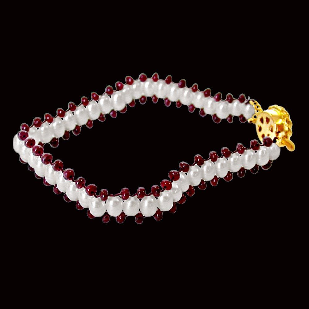 Ruby Charm n Pearl Magic - Real Ruby & Rice Pearl Bracelet for Women (SB28)