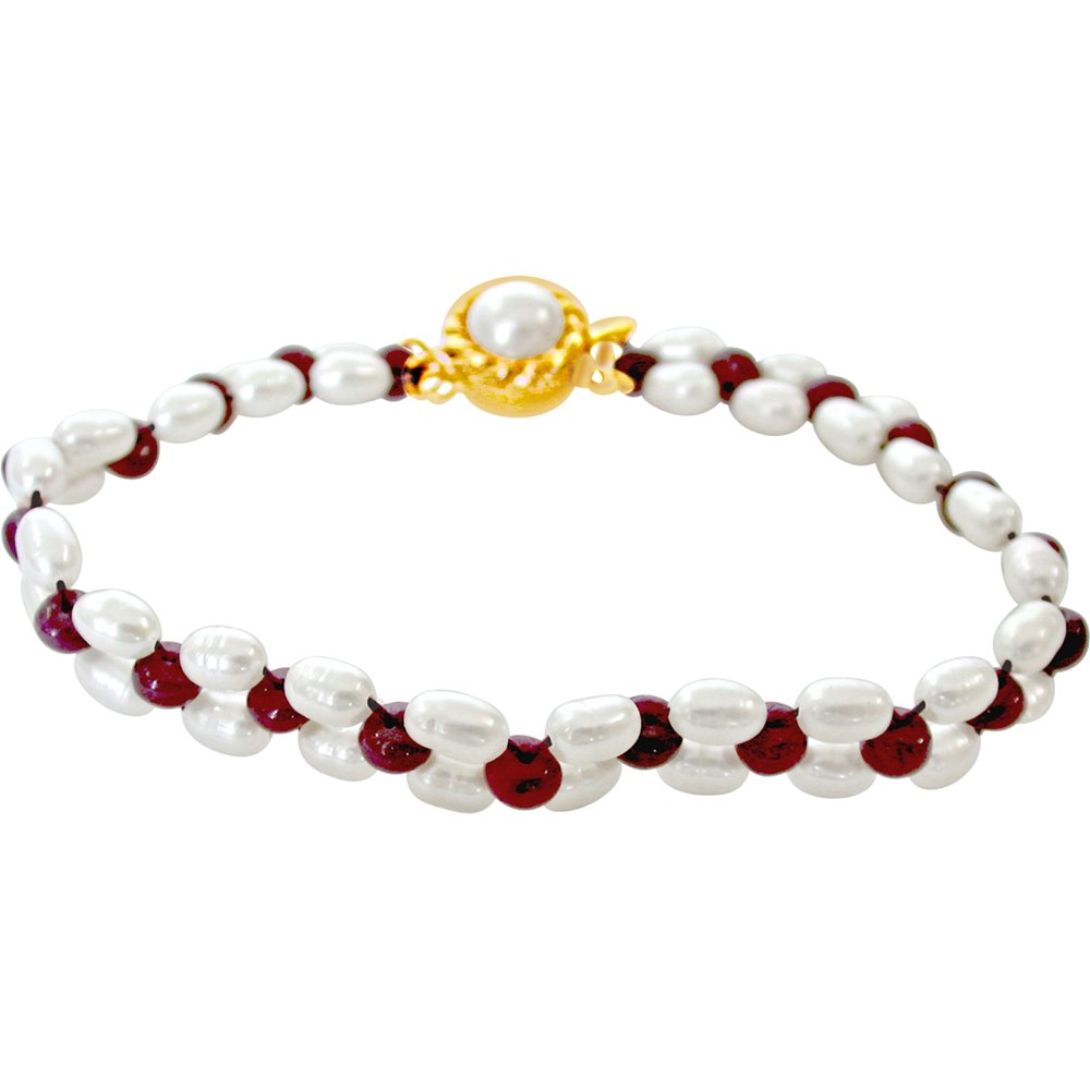Irresistible Pearls n Adorning Rubies - Real Red Ruby & Rice Pearl Bracelet for Women (SB29)