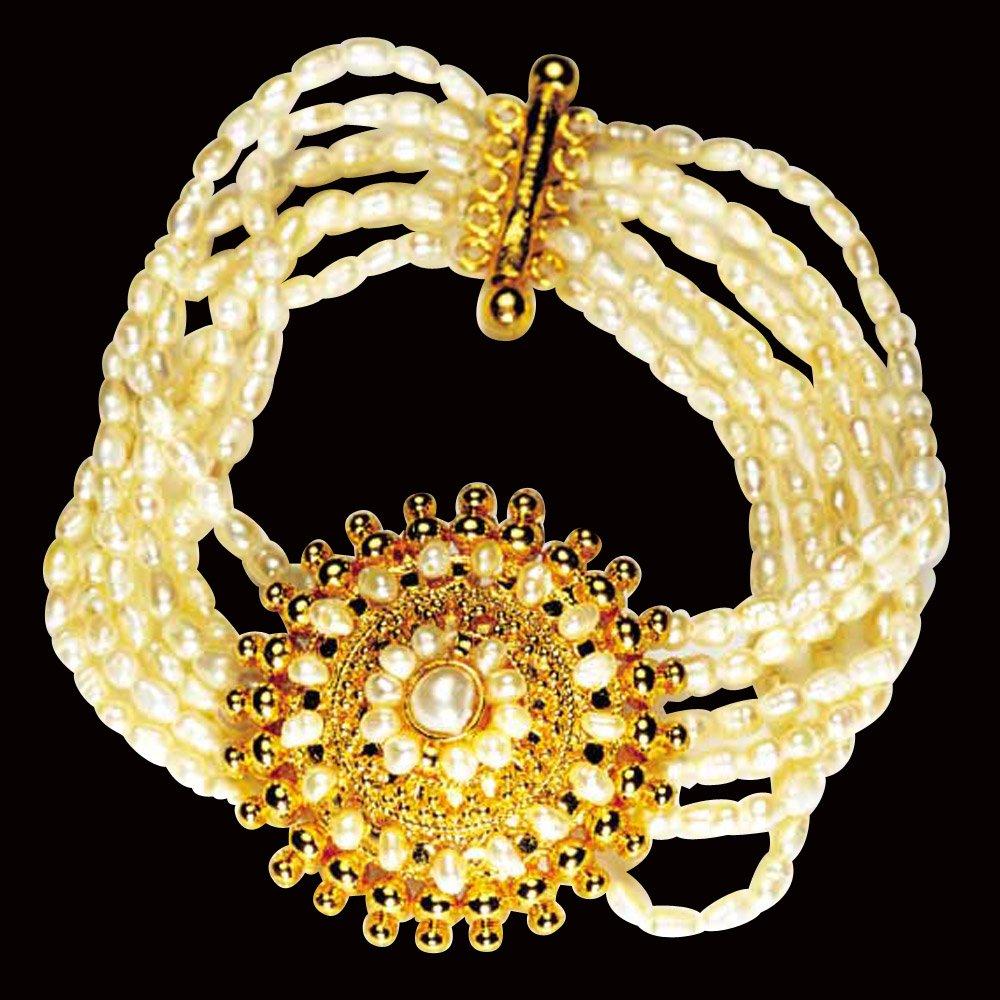 Glitters - 5 Line Freshwater Pearl & Gold Plated Pendant Bracelet for Women (SB2)
