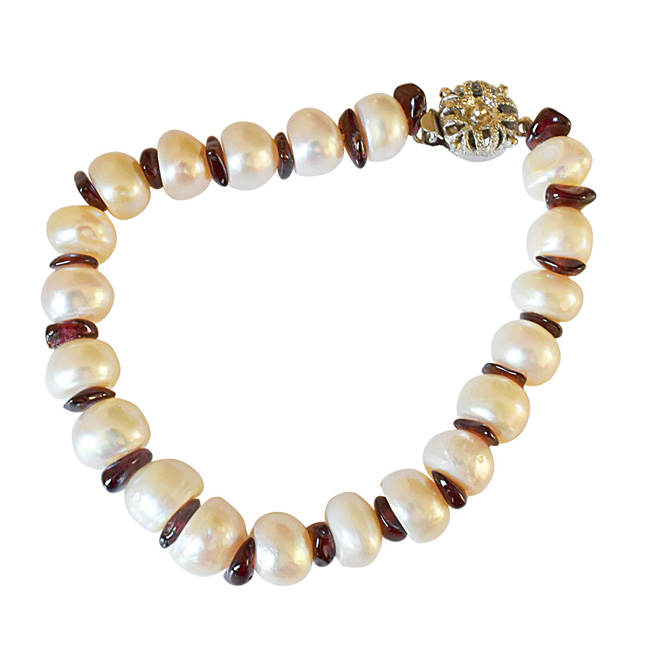 Real Big Pearl & Uncut Garnet Bracelet for Women (SB44)