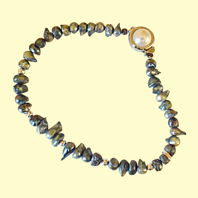 Real Grey Pearl and Silver Plated Beads Bracelet for Women (SB50B)
