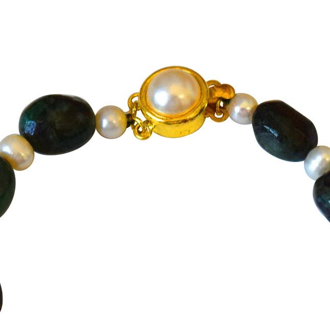 Single Line Real Green Oval Emerald & Real Pearl Bracelet for Women (SB51)