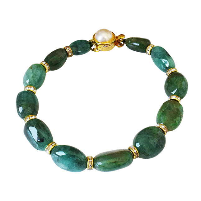 Single Line Real Green Oval Emerald Cocktail Bracelet for Women (SB52)