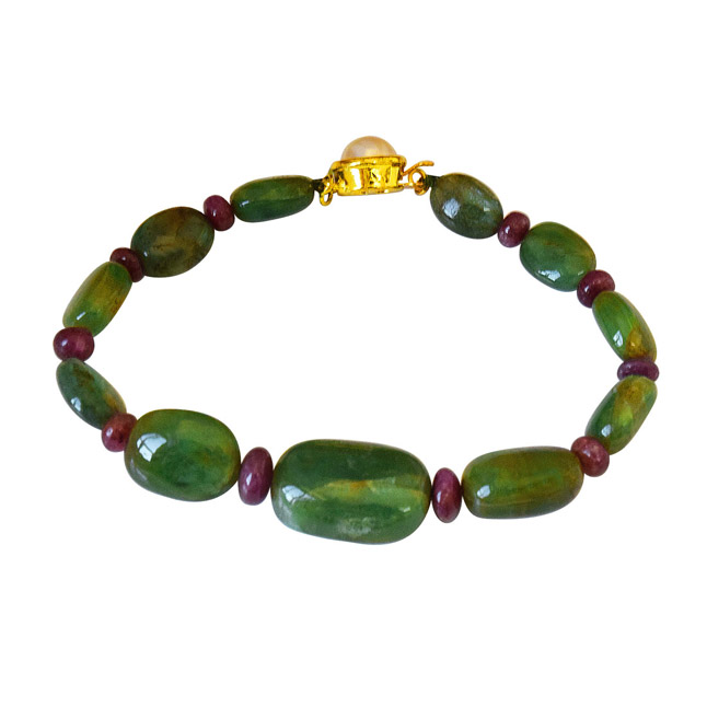 Real Green Oval Emerald & Red Ruby Beads Bracelet for Women (SB53)