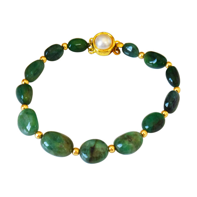 Single Line Real Green Oval Emerald & Gold Plated Beads Bracelet for Women (SB54)