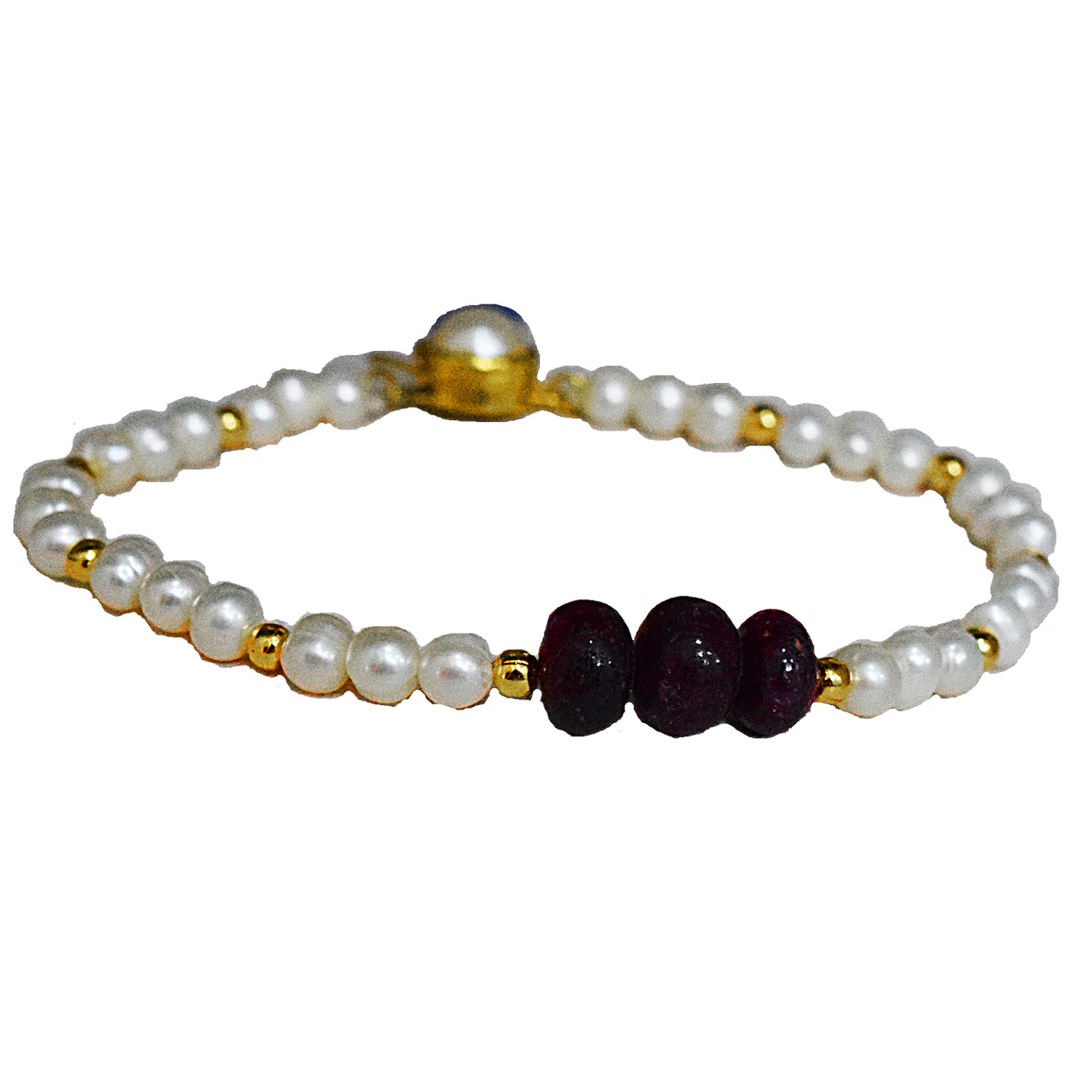 3 Big Real Red Button Ruby, Freshwater Pearl & Gold Plated Bracelet for Women, Red