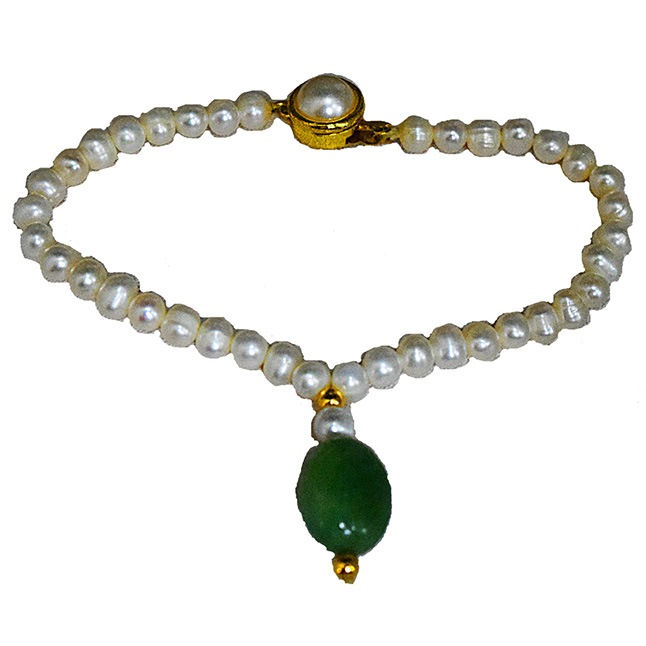 Single Real Big Green Oval Emerald, Freshwater Pearl & Gold Plated Bracelet for Women