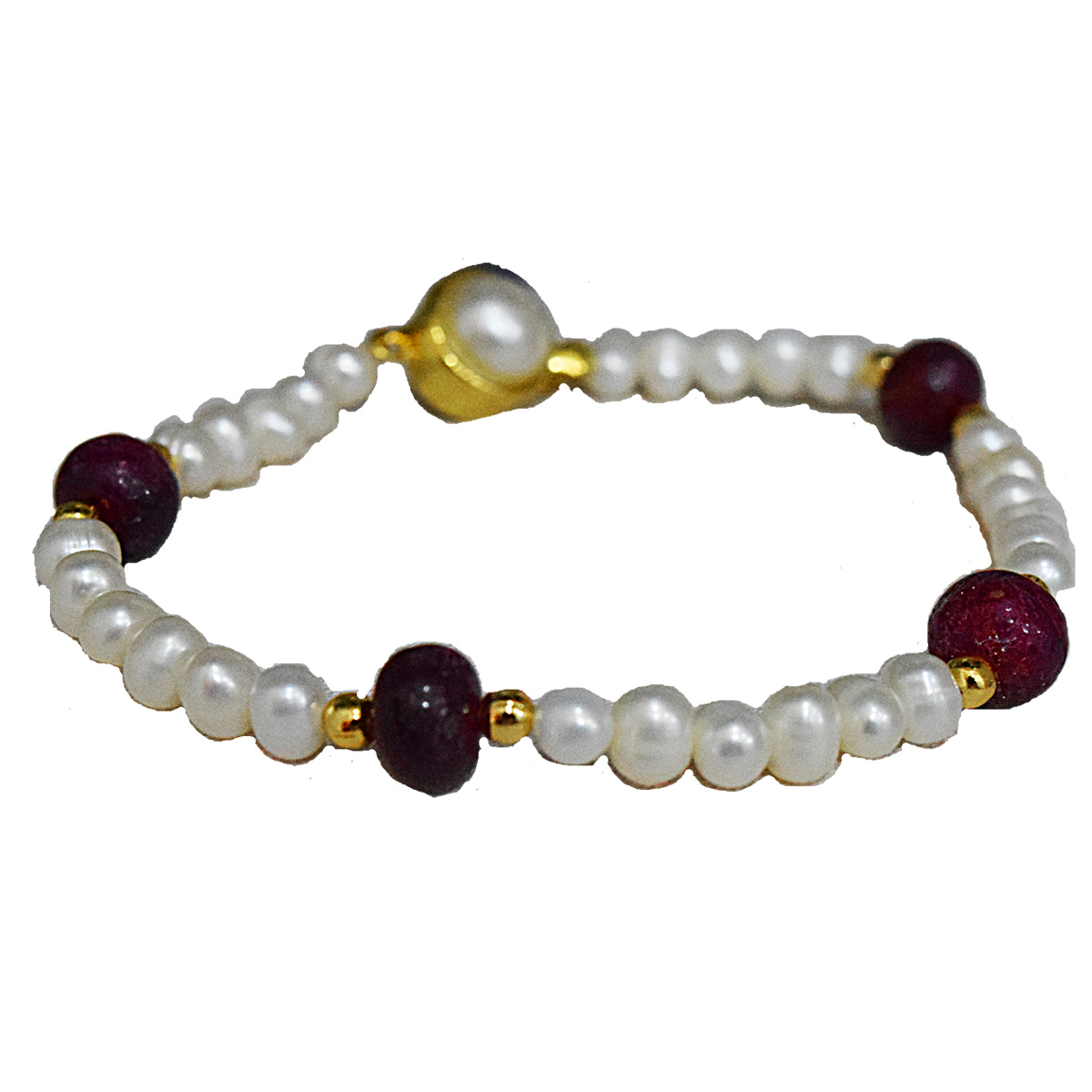 4 Real Red Button Ruby, Freshwater Pearl & Gold Plated Bracelet for Women