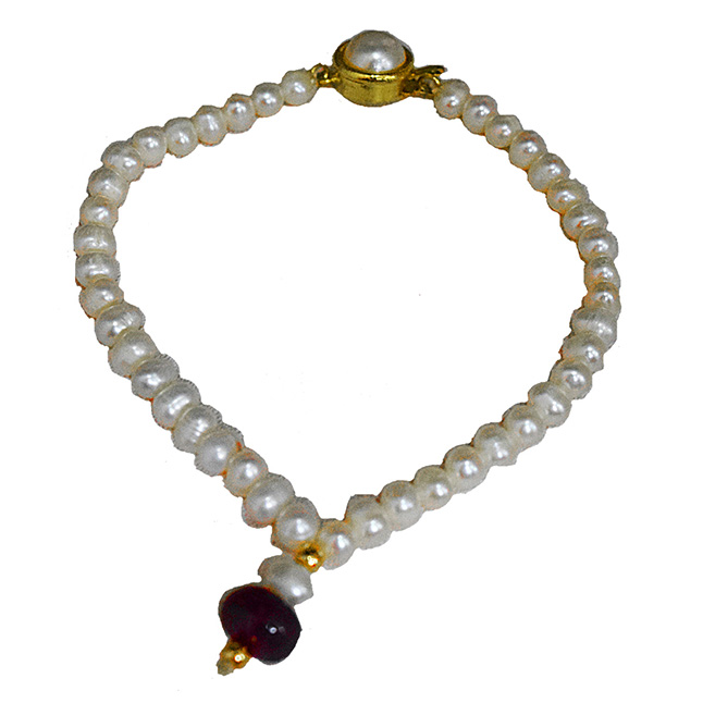 Single Real Red Button Ruby, Freshwater Pearl & Gold Plated Bracelet for Women