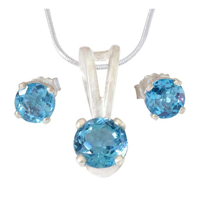 Round Shape Blue Topaz Pendant & Earring Set with Silver finished 18 IN Chain SDS309+SDE15