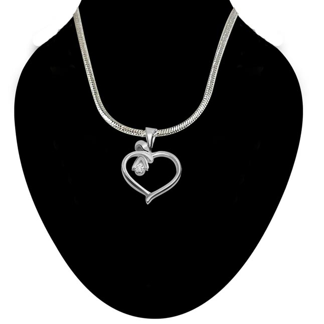 Desire Love - Real Diamond & Sterling Silver Pendant with 18 IN Chain