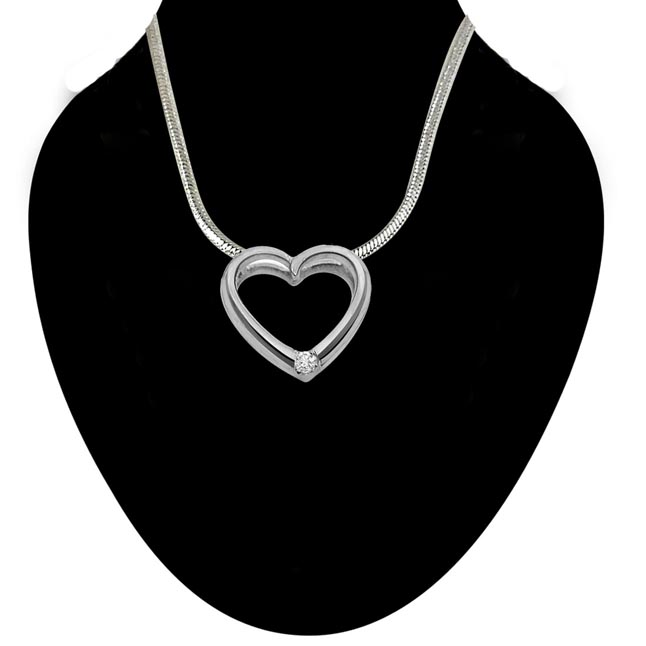 Queen of Heart - Real Diamond & Sterling Silver Pendant with 18 IN Chain