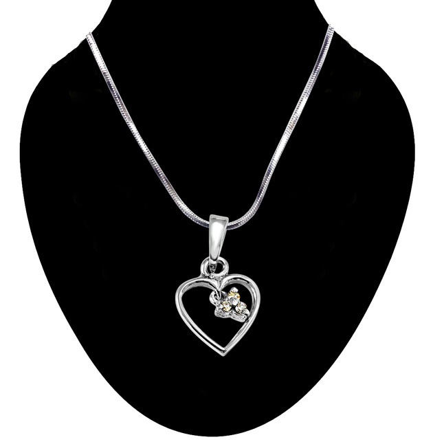 Love Blooms - Real Diamond & Sterling Silver Pendant with 18 IN Chain