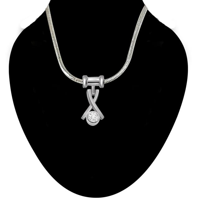 Outdoor Advanture - Real Diamond & Sterling Silver Pendant with 18 IN Chain