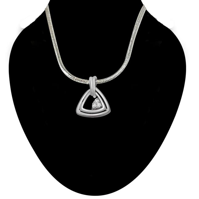 Triangle of Love - Real Diamond & Sterling Silver Pendant with 18 IN Chain