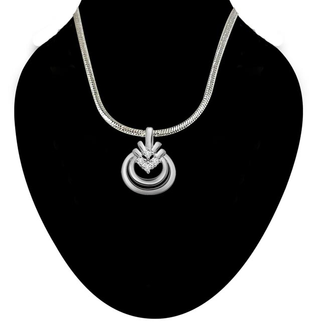 Forever Yours - Real Diamond & Sterling Silver Pendant with 18 IN Chain